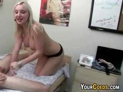 Busty Blonde Railed In College DormRoom