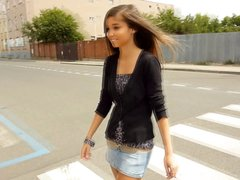 Skinny brunette Nika is in a casting video teasing and posing