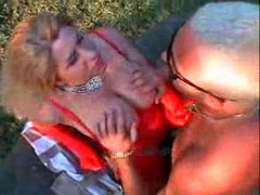 Major tit chick in red fucked outdoors