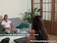 Sexy female agent is asking naughty part1