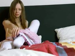 Amazing super gaunt girl in white socks