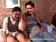 Nerdy schoolgirl turns out to be a hot cocksucking slut