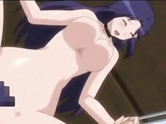 Brunette anime MILF with big tits eats a cock and then gets nailed