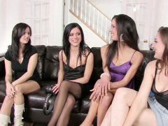Four girls kiss and lick to attract guys