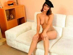 Policewoman strip on the white couch